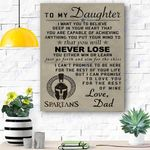 To My Daughter Spartan Canvas Print Wall Art - Matte Canvas