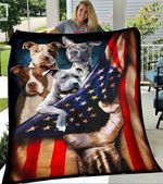 Custom Blanket Pitbull America Flag Blanket - Fleece Blanket