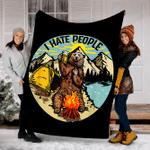 Customs Blanket I Hate People - Bear Drinking Beer Blanket - Fleece Blanket