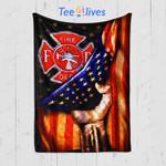 Custom Quilt Blanket Firefighter Strong FLag Blanket - Quilt Blanket