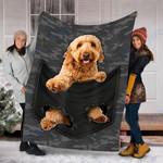 Custom Blanket Goldendoodle Dog Pocket Mid Blanket - Fleece Blanket