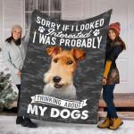 Customs Blanket Wire Fox Terrier Dog Blanket - Fleece Blanket