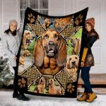 Customs Blanket Bloodhound Embroidery Dog Blanket - Fleece Blanket