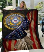 Custom Blanket U.S. Coast Guard Flag Personalized Name Blanket - Quilt Blanket