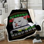 Custom Blankets Woman Yelling at Cat Blanket - Fleece Blanket