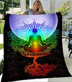 Customs Blanket Chakra Meditation Moon Tree of Life Blanket - Fleece Blanket