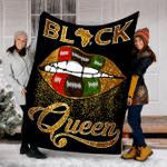 Customs Blanket Black Queen Lips Blanket - Perfect Gift For Girls - Fleece Blanket
