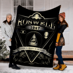 Customs Blanket Roswell 1947 Alien - Area 51 Blanket - Fleece Blanket