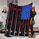 Custom Blanket American Flag Fishing Blanket - Fleece Blanket