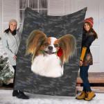 Customs Blanket Papillon Rose Zipper Dog Pocket Blanket - Fleece Blanket