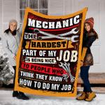 Customs Blanket Mechanic Blanket - Perfect Gift For Dad - Fleece Blanket #54654