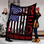 Customs Blanket RED Friday Military Remember Everyone Deployed Army US Flag Blanket - Fleece Blanket