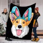 Custom Blanket Easter Egg Bunny Corgi Dog Blanket - Fleece Blanket