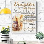 Custom Canvas To My Daughter Elephant Canvas Print Wall Art - Matte Canvas