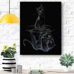 Black Cat Panther Mirror Reflection Canvas Print Wall Art - Matte Canvas