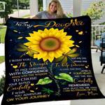 Sunflower Custom Blanket To My Daughter Blanket - Gift For Daughter - Fleece Blanket