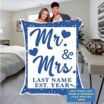 Custom Blankets Mr And Mrs Personalized Blanket With Name And Wedding Year - Fleece Blankets #91193