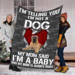 Customs Blanket Bullmastiff Dog Blanket - Fleece Blanket