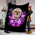 Customs Blanket Shih Tzu Purple Dog Blanket - Valentines Day Gifts - Fleece Blanket