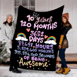Customs Blanket 10 Years 120 Months Birthday Blanket - Perfect Gift For Son - Fleece Blanket