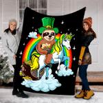 Customs Blanket St Patricks Day Sloth On A Unicorn Irish Blanket - Fleece Blanket
