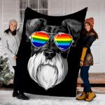 Customs Blanket Schnauzer Gay Pride Flag LGBT Rainbow Blanket - Fleece Blanket