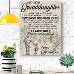 My Dear Granddaughter Canvas Print Wall Art - Matte Canvas