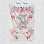Custom Blankets Personalized Baby Gift Elephant Blanket - Gift for Baby #53575