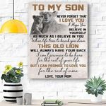 Custom Printing To My Son Lion Canvas Print Wall Art - Matte Canvas