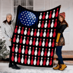 Customs Blanket American Flag Bowling Bowler Blanket - Fleece Blanket