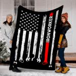 Customs Blanket Ironworker USA Flag Blanket - Fleece Blanket