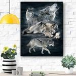 Wolf Family Canvas Prints Wall Art - Matte Canvas