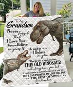 Custom Blankets Dinosaur To My Grandson Blanket - Gift For Grandson - Quilt Blanket