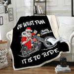 Custom Blankets Biker Santa Motorcycle Blanket - Fleece Blanket