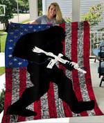 Custom Blanket Bigfoot Flag USA Quilt Blanket - Quilt Blanket