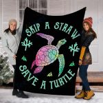 Customs Blanket Sea Turtle Skip a Straw Save a Turtle Blanket - Fleece Blanket