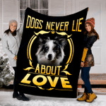 Customs Blanket Blue Merle Collie Never Lie Dog Blanket - Fleece Blanket