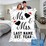 Custom Blankets Mr And Mrs Personalized Blanket With Name And Wedding Year - Fleece Blankets #27525