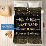 Custom Blankets Mr And Mrs Personalized Blanket With Name And Wedding Year - Fleece Blankets #82845