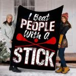 Lax I Beat People With A Stick Lacrosse Player Funny - Fleece Blanket