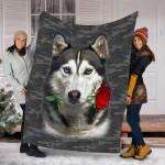 Customs Blanket Husky Rose Zipper Dog Pocket Blanket - Fleece Blanket
