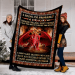 Customs Blanket Dragon - Eat Too Much Blanket - Fleece Blanket