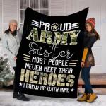 Customs Blanket Veteran Proud Army Sister Blanket - Fleece Blanket