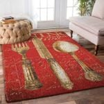 Custom Areas Vintage Dining Utensils In Red Rug - Gift For Family