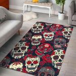 Custom Areas Rug White Red Sugar Skull Rug - Gift For Family