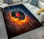 Custom Areas Rug Vinyl Record Flame Rug - Gift For Family