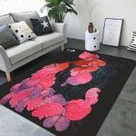 Custom Areas Rug Black Pink Flowers Rug - Gift For Family