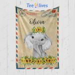 Custom Baby Blanket Letter Elephant Personalized Baby Blankets - Baby Gift - Fleece Blanket