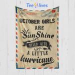 Custom Blanket Letter October Girls Are Sunshine Blanket - Happy Birthday Daughter - Fleece Blanket