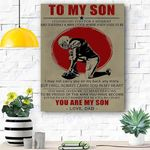 To My Son Football Canvas Print Wall Art - Matte Canvas